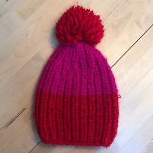 American Eagle red and pink Pom-Pom beanie.